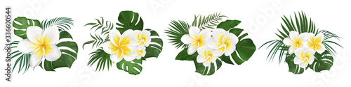 Foto Tropical flowers frangipani and leaves