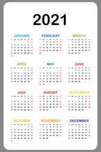 Calendar 2021 Yearly. Week Starts On Sunday. Vector Illustration.