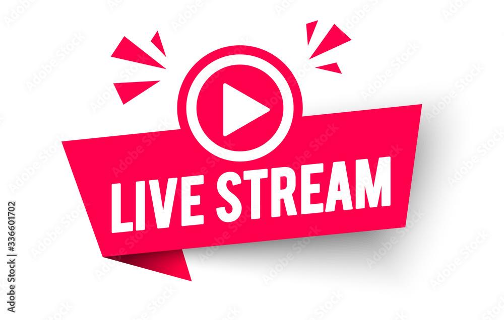 Fototapeta Vector Illustration Live Stream Label. Modern Web Banner Element With Play Icon