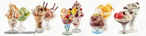 Fototapeta Various ice-cream sundaes with white copy space