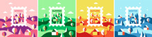 Vector Set Of Illustrations In A Flat Style. Composition Of The Four Seasons: Spring, Summer, Autumn And Winter.