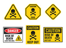 Danger Sign With Scull And Crossbones, Warning Icons Set