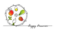 Jewish Seder Plate, Dish With Meal. Happy Passover Lettering, Holiday Pesach. Vector Illustration Of Traditional Pesach Food On The Plate. One Continuous Line Drawing.