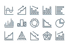 Graph And Chart Line Icons. Diagram And Analytics Report Vector Icon Set.