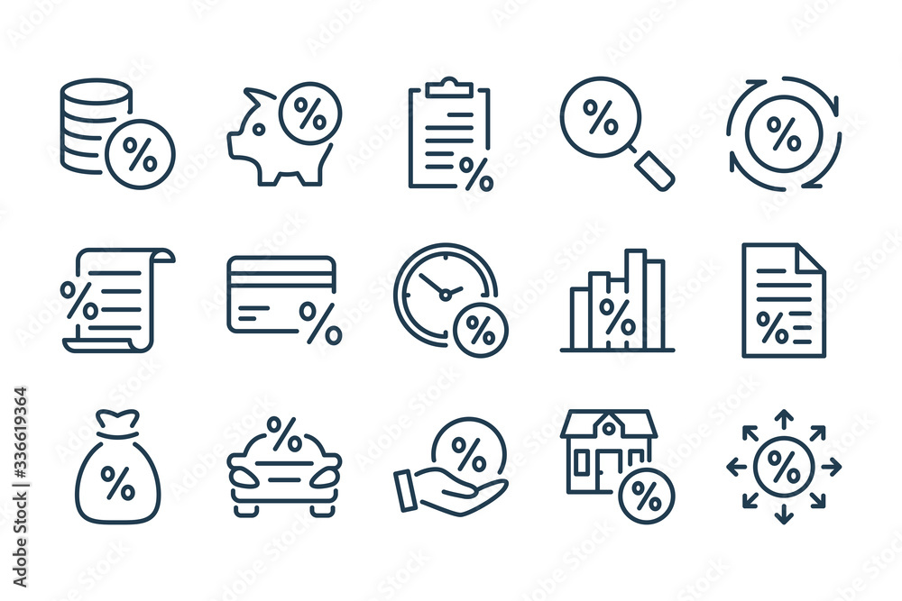 Fototapeta Loan, tax and fees line icons. Discount and Investment vector linear icon set.