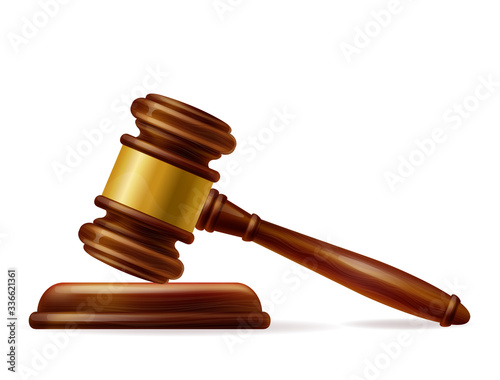 Obraz Wooden brown judge gavel, decision glossy mallet for court verdict. 3d realistic vector, isolated on white background. Hammer with gold on the stand. Law and justice system symbol. - fototapety do salonu