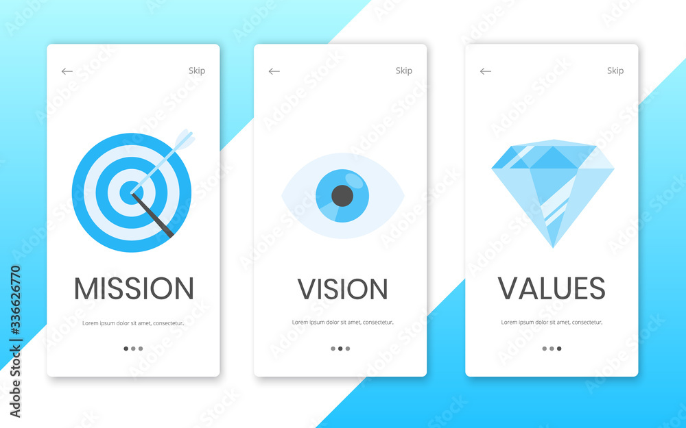 Fototapeta Mission, vision and values flat style design landing page template web concept vector illustration set isolated on white background. Web page concepts for business company strategy and teamwork plan.