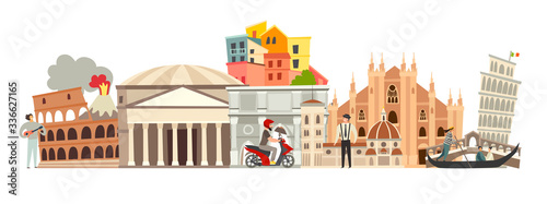 Fototapeta Italy skyline colorful background. Famous Italy building. Italy hand drawn vector illustration. Italian travel landmarks/attraction. Vector illustration isolated on white background obraz