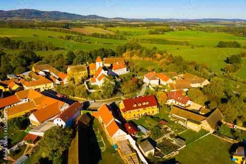Aerial view of Czech village of Cakov Wallpaper Mural