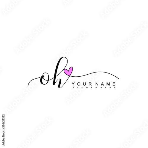 Photo Letter OH Simple and Clean illustration Logo initial Signature with heart