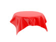 Red tablecloth on invisible round table. 3d rendering illustration
