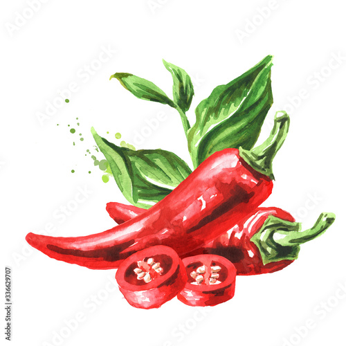 Leinwand Poster Red hot chili pepper with green leaves
