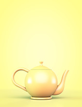 Yellow Teapot On A Yellow Back...
