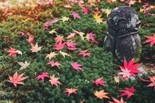 Statue Of A Child With A Smiling Face. Located On The Green Moss. With Red Maple Leaves In The Autumn And Fall Season Background.