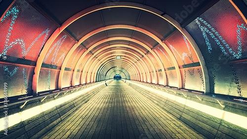 Photo Interior Of Illuminated Footbridge