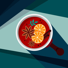 Creative Conceptual Vector Illustration. Retro Vintage Abstract Poster With Mulledwine Drink Bowl In The Sun With Contrast Shadows.