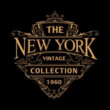 Vintage Art Deco Badge Logo Design Illustration Vector