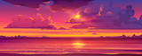 Fototapeta Fototapety z morzem do Twojej sypialni - Sea sunset. Tropical landscape of ocean with sky, clouds and water in red light of evening sun. Vector cartoon summer seascape with city lights and coastline silhouette on horizon