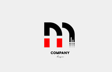Black Red M Alphabet Letter Lo...