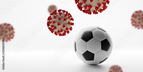 Fotografía soccer ball Coronavirus Covid-19 symbolic 3d-illustration
