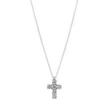 Cross Pendant On A White Gold Chain With Diamonds Isolated On A White Background
