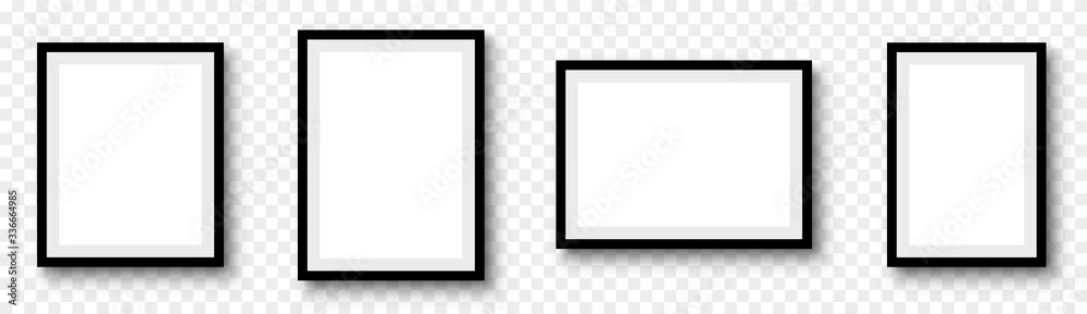 Fototapeta Photo frame. Picture frames set with shadow on transparent background
