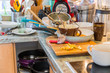 canvas print picture - Messy and dirty kitchen - Compulsive Hoarding Syndrom -