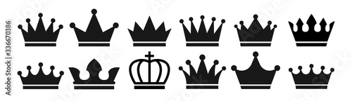 Crown set icon . Vector illustration. Canvas Print