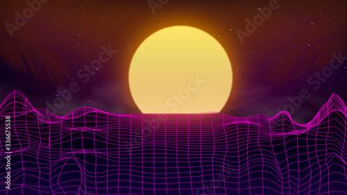 Fotografija Beautiful mountain evening, synth wave and retro wave, vaporwave futuristic aesthetics