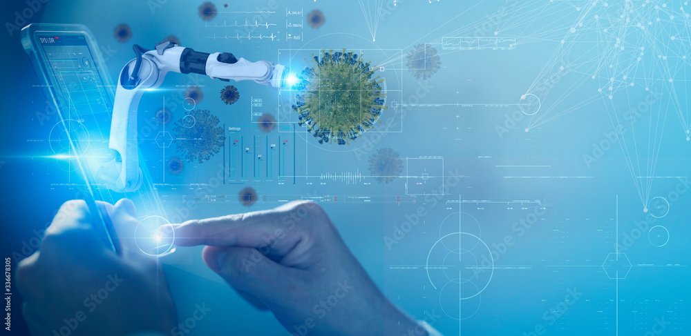 Fototapeta Scientist doctor with mobile robot technology virus infect detected 3D futuristic virtual reality hologram, COVID Coronavirus intelligence digital medical health care technology.