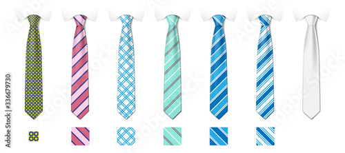 Fotografía Striped silk neckties templates with textures set