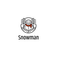Snowman Logo Design Vector Tem...
