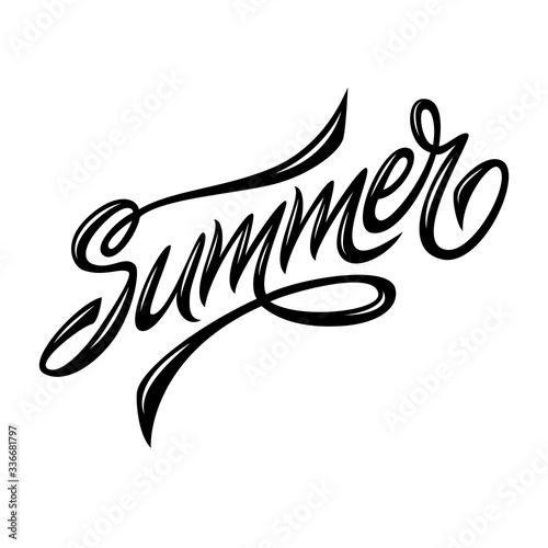 Summer. Lettering. The image can be used for poster, background, postcard, banner, window. Vector.