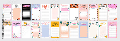 Obraz Collection of weekly or daily planner, note paper, to do list, stickers templates decorated by cute beauty cosmetic illustrations and trendy lettering. Trendy scheduler or organizer. Flat vector - fototapety do salonu