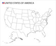 USA map, black and white detailed outline regions of the country. Vector illustration
