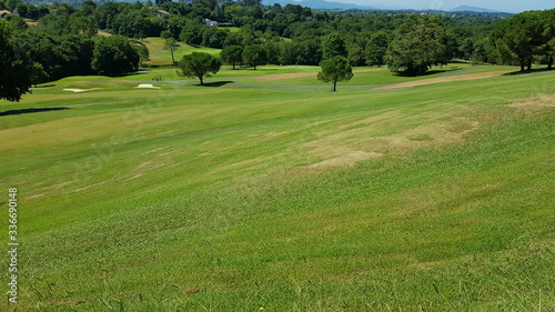 Landscape of a golf course in Aquitaine, France, a sunny day Wallpaper Mural