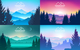 Fototapeta  - Set of mountains landscapes. Realistic forest, trees. sunrise, sunset, day, morning, night, mountain lake, fog on the rocks and in the valley. Hiking adventure background. Vector illustration