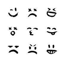 Set Of Vector Emoticons, Smiley, And Mood Expressions. Modern Grunge And Textured Emoji Looks Like Graffiti For Any Projects, Prints, And Web Interfaces. Templates For Your Design.