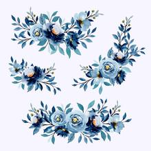 Blue Indigo Watercolor Floral Arrangement Collection