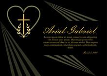 Obituary In Gold Design On Bla...