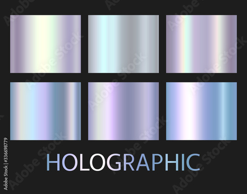 Holographic, silver, bronze and golden foil texture background set Fototapete