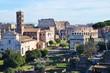 Aerial view on Forum Romanum towards Colosseum Rome