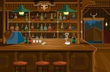 Wild West Bar In Wooden Style ...