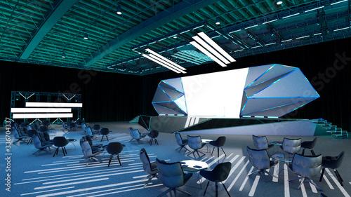 Photo Ilustración 3D de escenario en bodega, para eventos corporativos y especiales co