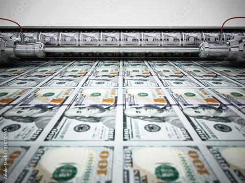 Money printing machine printing 100 dollar banknotes Fototapet