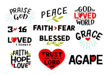 Logo Set With Bible Verse Fait...