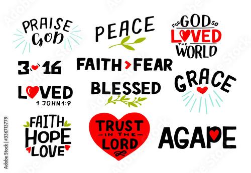 Logo set with Bible verse Faith, Hope, Love, Trust in the Lord, Praise God, 3 16, Blessed, Agape, Grace, Faith fear Canvas Print