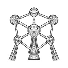 Atomium Monument Landmark Building In Brussels Sketch Engraving Vector Illustration. T-shirt Apparel Print Design. Scratch Board Imitation. Black And White Hand Drawn Image.