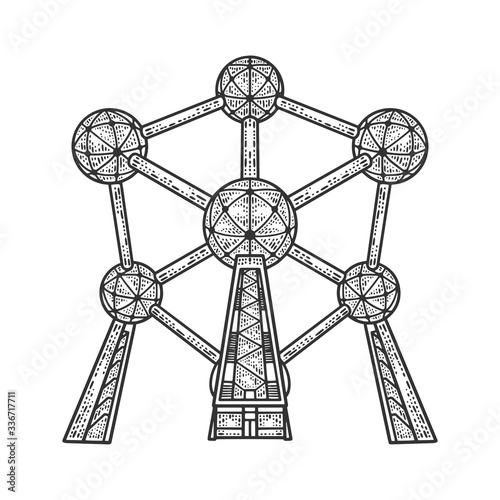 Photo Atomium monument landmark building in Brussels sketch engraving vector illustration