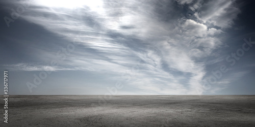 Valokuva Floor Background with Dramatic Sky Clouds Empty Panoramic Horizon Landscape